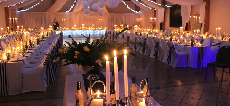 Lekoa WEdding reception Hall decorated in white