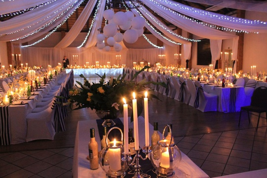 Wedding reception decorated in white